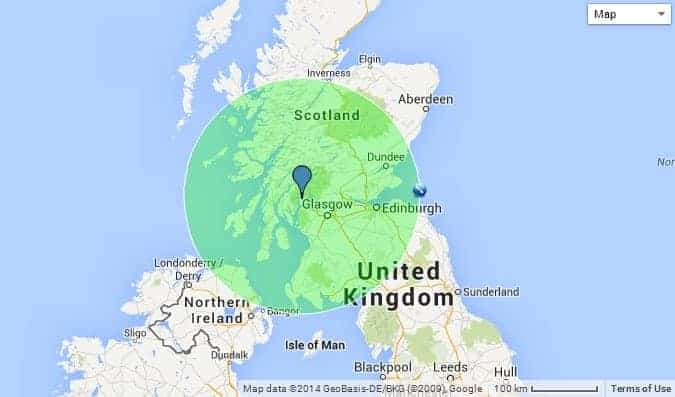 Faslane indicated by the blue pin.