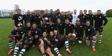 LONDON, ENGLAND - NOVEMBER 26: The Barbarians players pose for team photograph after a Barbarians training session at Latymer Upper School Sports Ground on November 26, 2018 in London, England. The Barbarians play Argentina in the Quilter Cup match at Twickenham Stadium on Saturday, December 1 2018. (Photo by Steve Bardens/Getty Images for Barbarians)