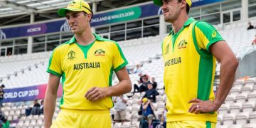 SOUTHAMPTON, ENGLAND - MAY 27:  Pat Cummins (L) and Mitchell Starc of Australia wait to take to the field of play during the ICC Cricket World Cup 2019 Warm Up match between Australia and Sri Lanka at Ageas Bowl on May 27, 2019 in Southampton, England. (Photo by Andy Kearns/Getty Images)