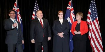 Secretary of Defense Mark Esper, US Secretary of State Mike Pompeo, Australian Minister for Foreign Affairs Marise Payne, and Australian Minister for Defence Linda Reynolds at the AUSMIN talks in Sydney. (AAP/Rick Rycroft)