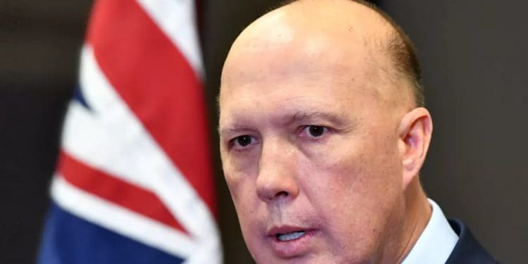 "Peter Dutton has issued ""ministerial direction"" to the AFP over investigating leaks to the media. (DARREN ENGLAND/AAP/THE CONVERSATION)"