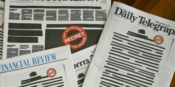 "The ""Your Right To Know"" campaign is supported by an unlikely coalition of media outlets. This is what Monday morning's papers looked like in support of the campaign. (Lukas Coch/AAP/The Conversatipn)"