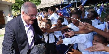 Scott Morrison has heavily promoted his government's 'Pacific Step Up', but it hasn't invested the requisite funds to support the initiative diplomatically. Darren. (England/AAP/The Conversation)