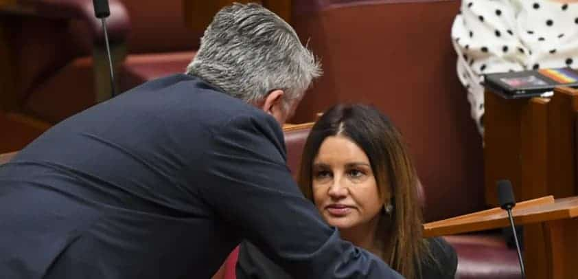 """Following conflicting accounts on whether there was a deal, Richard di Natale said Cormann had 'walked over to senator Lambie and said, """"Is it OK if I say there's no deal?"""" We heard you say it'. Lukas Coch/AAP/The Conversation"""
