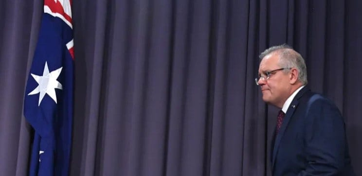 Prime Minister Scott Morrison prepares to address the press on Monday after he said few people knew who his NSW Liberal colleague was. (Mick Tsikas/AAP/The Conversation)