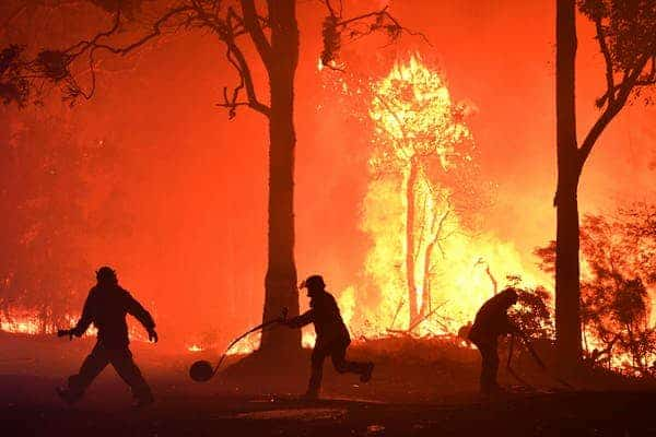Firefighters battle flames encroaching on properties near Termeil on the NSW south coast, where lives and homes have been lost. (Dean Lewins/AAP/The Conversation)
