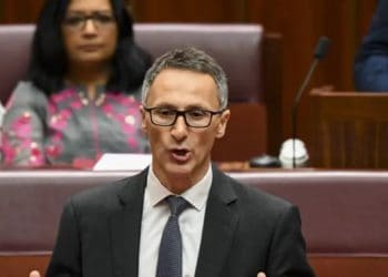Richard Di Natale in Parliament. (Lukas Coch/AAP/The Conversation)