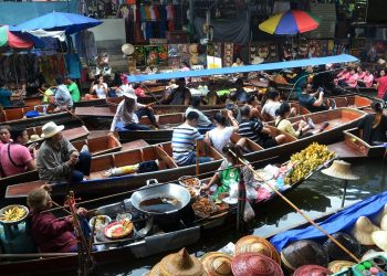 Bangkok Thailand Floating Market Boats River