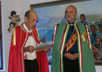Prince Leonard, left, abdicates the Hutt River throne to be succeeded by his son Graeme Casley. Photo credit: Hutt River