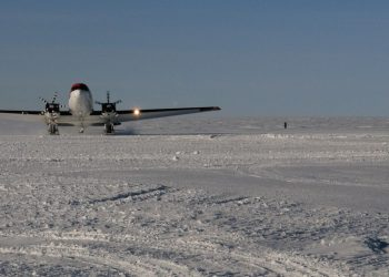 The Basler aircraft lands on the ski-way to collect the ill Australian. Photo credit: Australian Antarctic Division