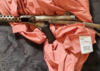 A sub-machine gun seized during the operation. Photo credit: Australian Federal Police