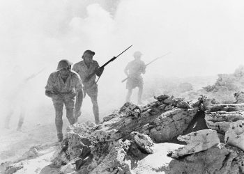Australian troops advance during the battle of El Alamein during World War Two. Photo credit: Wikimedia Commons