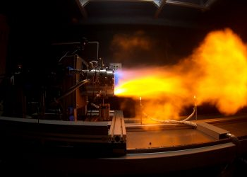 The successful engine firing at the DefendTex/RMIT test facility. Photo credit: RMIT