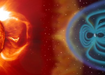 Earth's magnetic field protects us from the solar wind, guiding the solar particles to the polar regions. SOHO (ESA & NASA)