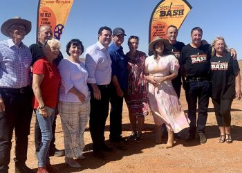Broken Hill Mayor Darriea Turley,  NSW tourism minister Stuart Ayres, and Kate Ceberano joined event organisers on Mundi Mundi plains to launch the Bash. Photo credit: City of Broken Hill