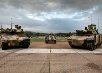 (From left): The Hanwha Defence Australia Redback Infantry Fighting Vehicle, the Australian Army's current M1123 Armoured Personnel Carrier, and Rheinmetall Defence Australia Lynx Infantry Fighting Vehicle. Photo credit: Australian Army