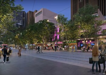 An artist's impression of George Street, pedestrianised between Hay Street and Rawson Place. Photo credit: City of Sydney