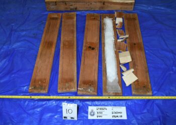 Part of the meth consignment hidden inside wooden pallets. Photo credit: Australian Federal Police