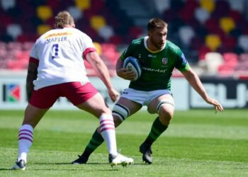 London Irish fell to an agonising defeat against Harlequins at the Brentford Community Stadium in a thrilling Round 17 encounter. Photo: Twitter @londonirish
