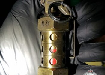 A flash-bang hand grenade seized during the Sydney crime blitz. Photo credit: NSW Police