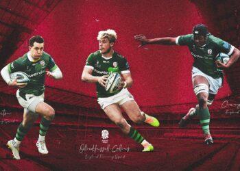 London Irish trio Ollie Hassell-Collins, Chunya Munga and Tom Parton have been included in Eddie Jones' England training squad. Photo: Twitter @londonirish