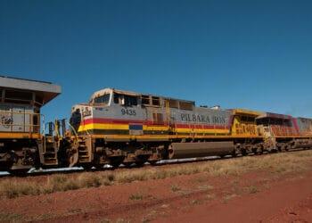 An iron ore train in the Pilbara region. Photo credit: Graeme Churchard via Wikipedia