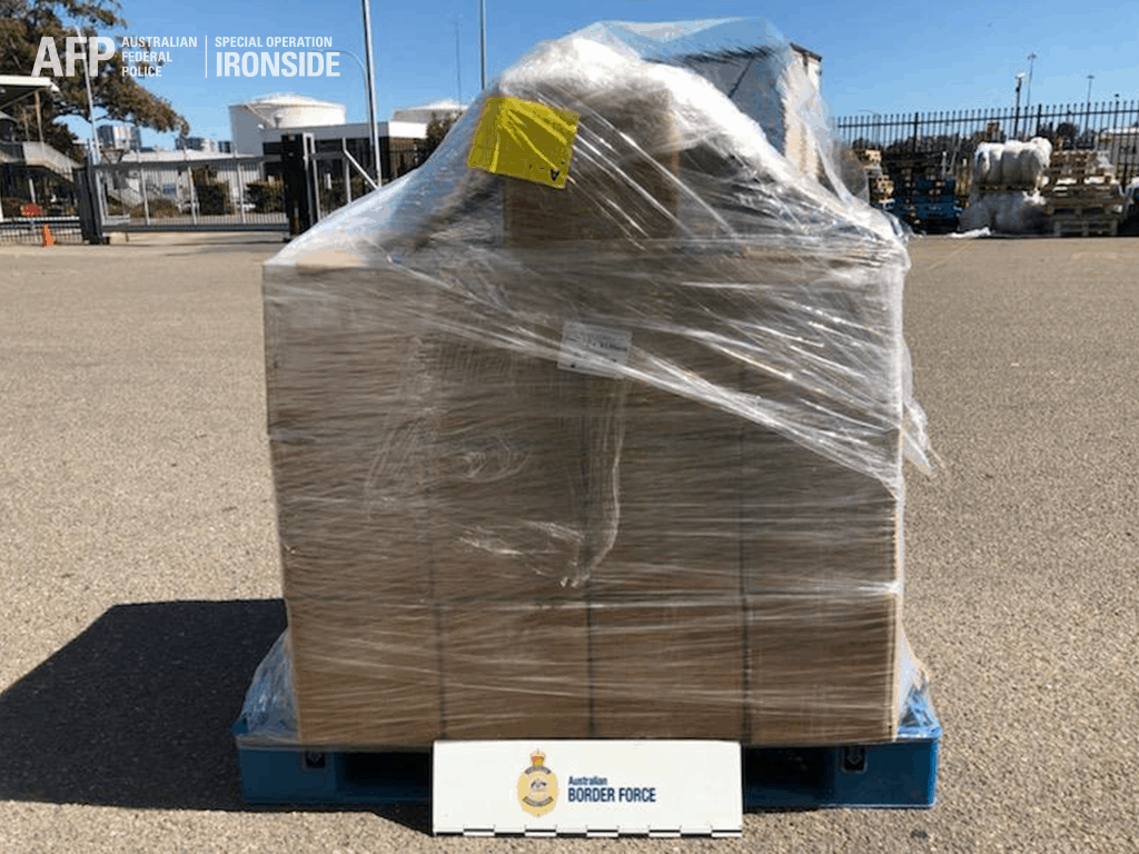 The consignment of pseudoephedrine seized by the Australian Border Force. Photo credit: AFP