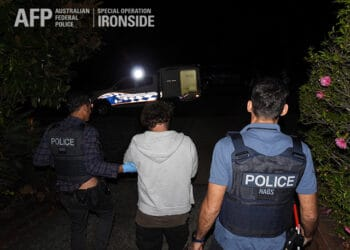 An Operation Ironside arrest related to the activities of bikie gangs. Photo credit: AFP
