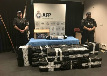 The seized consignment under guard during a 2019 media conference. Photo credit: AFP