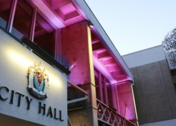 The City Hall in Victoria Lights Up in Pink in Support of Healthcare Workers