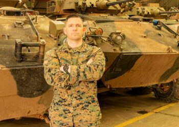 Gunnery Sergeant Ryan Accornero is one of two US marines awarded a Navy and Marine Corps Achievement Medal for saving houses from a fire at Puckapunyal, Victoria, in December last year. Photo credit: Department of Defence