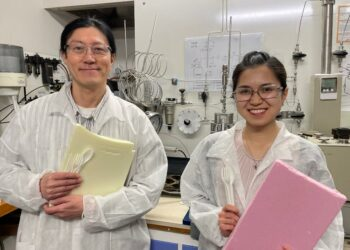 University of Canterbury academic, Dr Heon Park, and co-author and Engineering PhD student, Lilian Lin, with examples of the materials they're studying. Photo credit: University of Canterbury