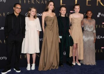 Angelina Jolie is accompanied by her children on the eternals red carpet.
