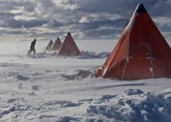Research camp in Antarctica. Photo by Jack Triest, via Australian National University